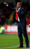 Swindon Town manager Paulo Di Canio shouts out from the bench during the npower League Two match between Swindon Town and Hereford United at the...