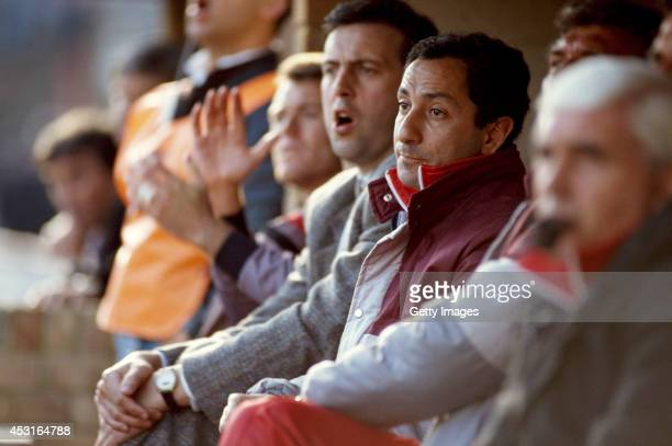 Swindon Town mananger Osvaldo Ardiles looks on during a league match between Swindon and Hull City at the County Ground on March 17 1990 in Swindon...