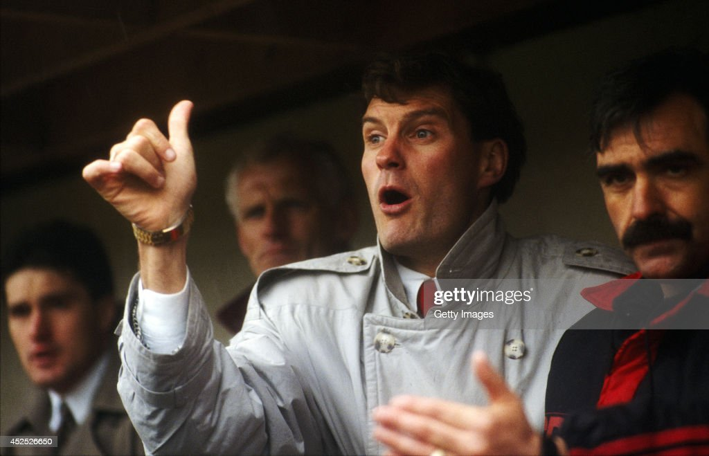 Swindon Town player manager Glenn Hoddle reacts during a match between Swindon Town and Watford at the County ground on April 6 1991 in Swindon...