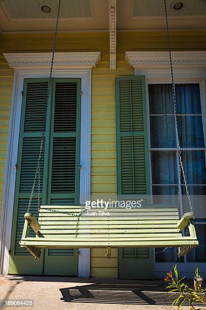 Swing chair in house porch, New Orleans