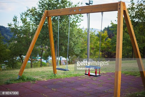 Swing on the playground. : Foto de stock