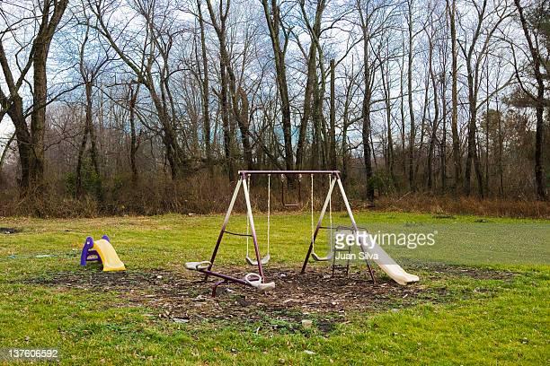 Swing set on rural area, West Virginia