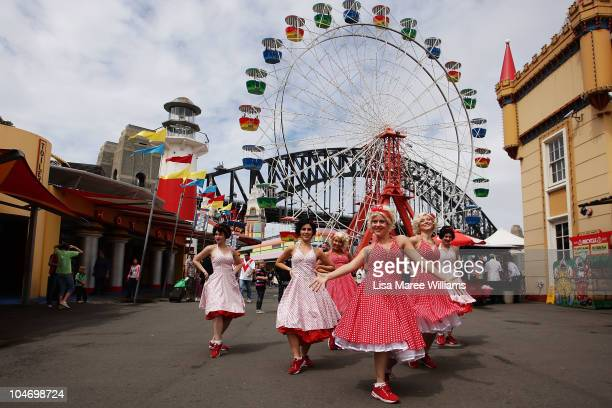 Swing Time dance troop members perform during 75th anniversary celebrations at Luna Park on October 4 2010 in Sydney Australia Artist Rupert Browne...