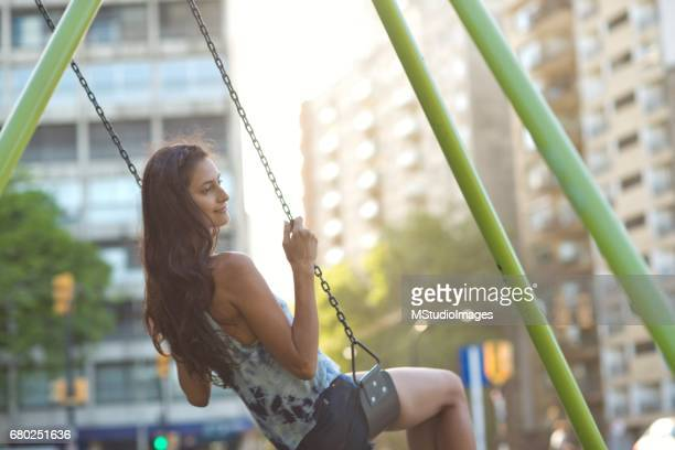 Swinging in the city.