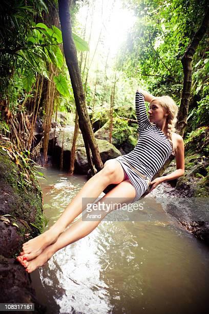 swinging on liana