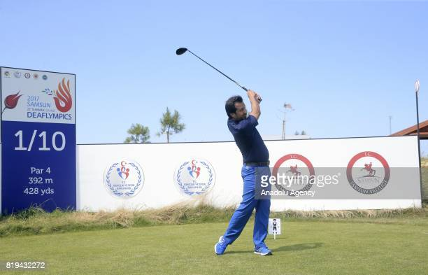 A swings a golf club during a meeting for Turkish and foreign media members ahead of the golf games within the 23rd Summer Deaflympics 2017 in Samsun...