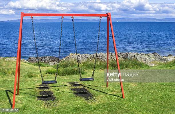 Swings overlooking the Firth of Clyde, Lochranza