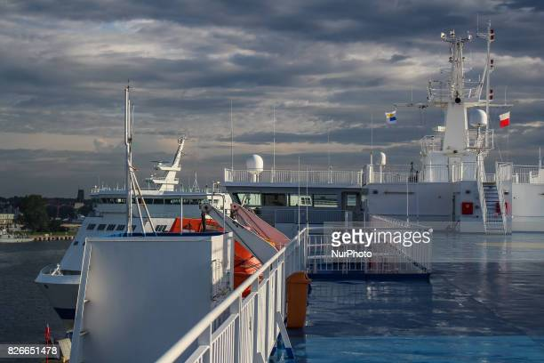 Swinoujscie ferry terminal and port is seen on 30 July 2017 in Swinoujscie Poland