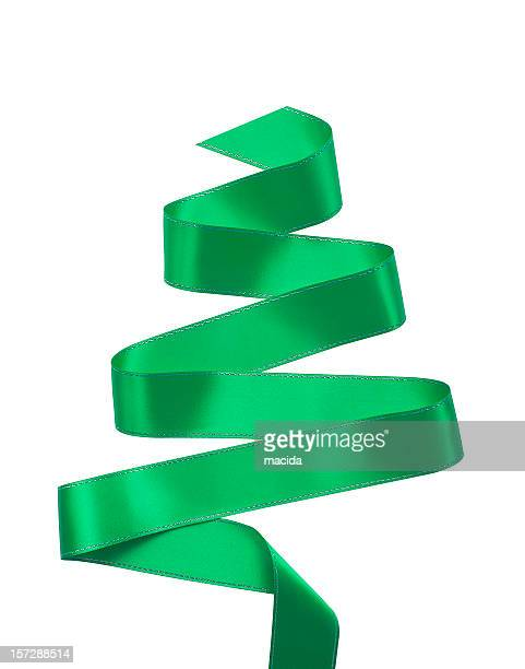 A swirl of green ribbon isolated on white