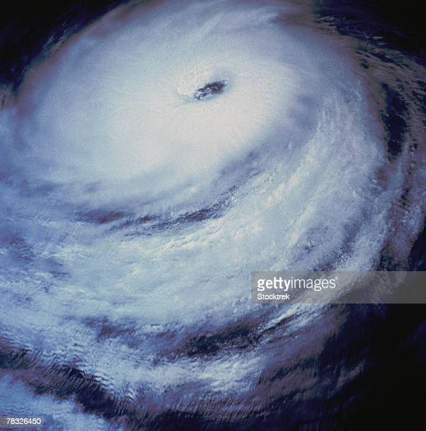 Swirling hurricane clouds