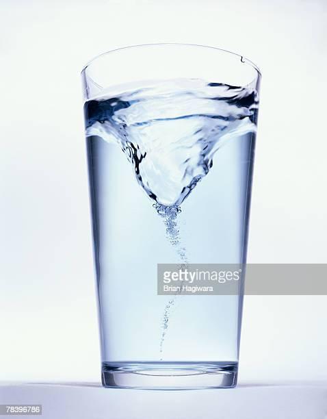 Swirling water in glass