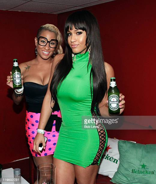 Swisha House's HazelE left and Rosa Acosta backstage at the Red Star Access Presents GOOD Music Event In Houston Hosted By Rosa Acosta Featuring Cyhi...