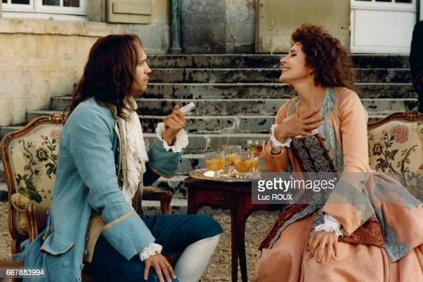 Swiss actor Vincent Perez and French actress Fanny Ardant on the set of the film Le Libertin directed by Gabriel Aghion