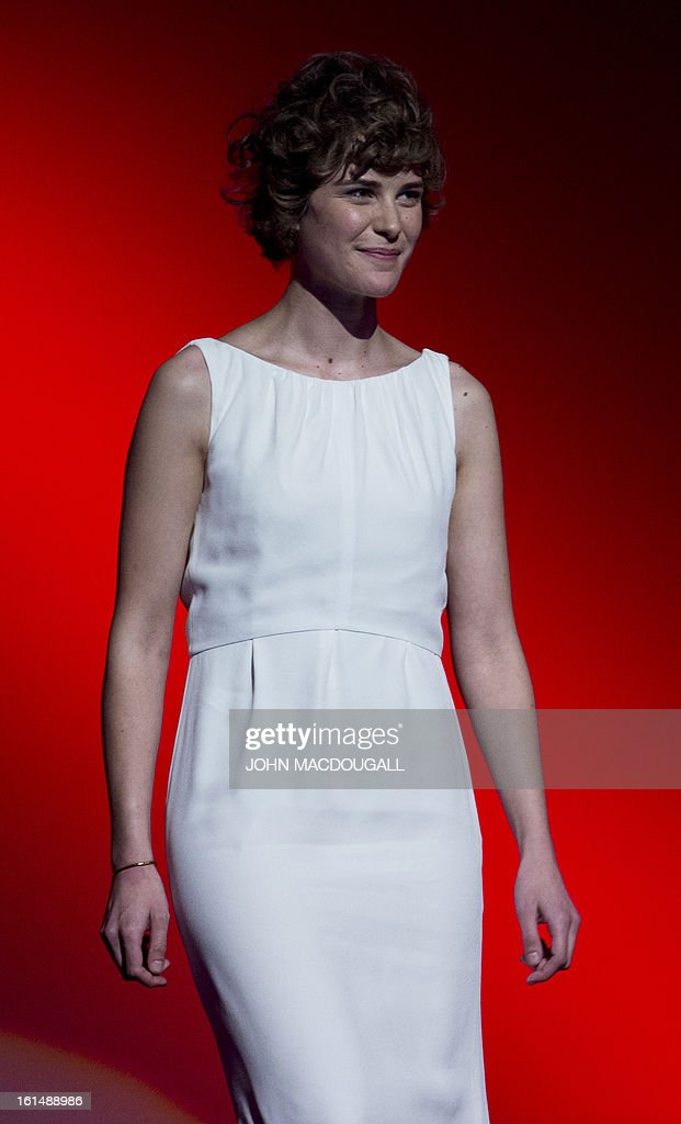 Swiss actress Carla Juri steps on stage to receive her Shooting Star award during the 63rd Berlinale Film Festival in Berlin February 11, 2013. The Shooting Star awards reward Europe's best young promising actors.
