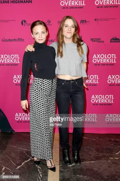 Swiss actress Jasna Fritzi Bauer and director Helene Hegemann attends the 'Axolotl Overkill' Berlin Premiere at Volksbuehne RosaLuxemburgPlatz on...
