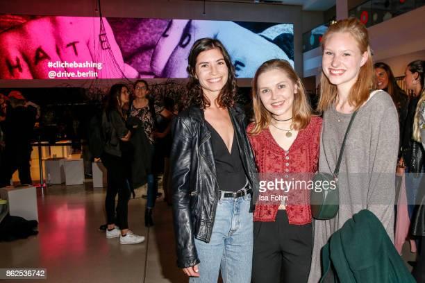 Swiss actress Tanja Lehmann German actress Marija Mauer and Merle von Heyer attend the Clich'e Bashing 'Beef mit den Veggies' at DRIVE Volkswagen...