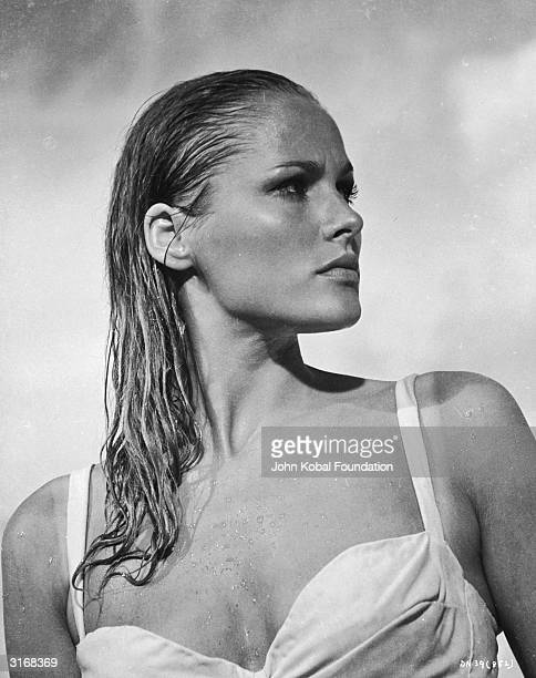 Glamorous Swiss actress Ursula Andress as Honey Ryder in a scene from the first James Bond movie 'Dr No'