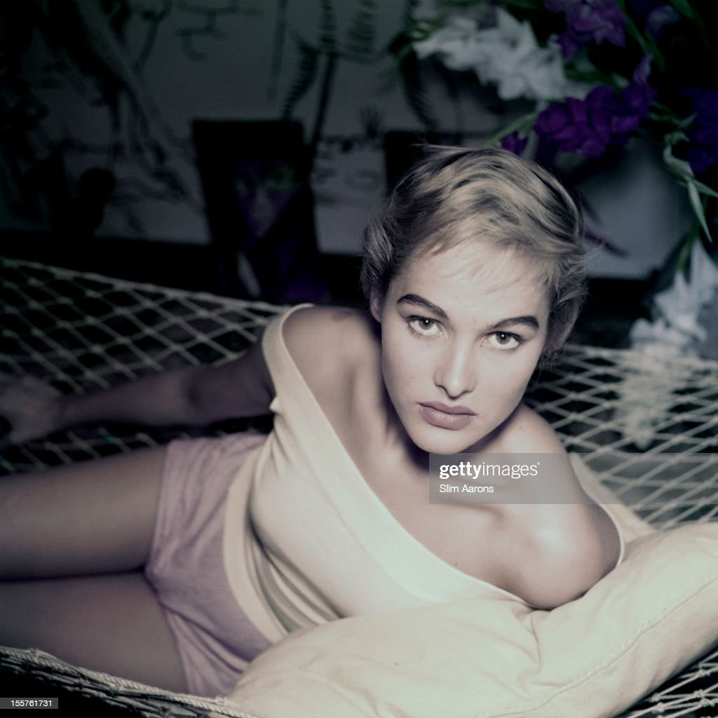 Swiss actress <a gi-track='captionPersonalityLinkClicked' href=/galleries/search?phrase=Ursula+Andress&family=editorial&specificpeople=213815 ng-click='$event.stopPropagation()'>Ursula Andress</a> poses in a hammock, in Rome, Italy, circa 1955.