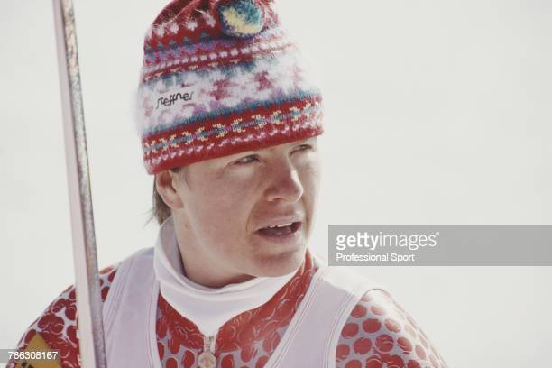 Swiss alpine skier Heidi Zurbriggen of the Switzerland team pictured during competition in the Women's giant slalom skiing event held at Meribel...
