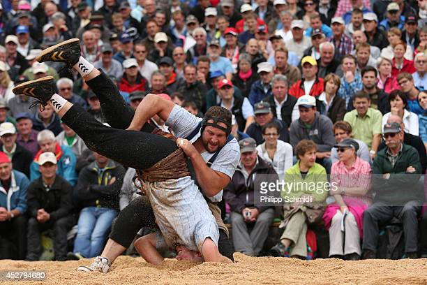 Swiss Alpine wrestler Thomas Sempach fights with Andreas Ulrich during the Alpine Wrestling Festival BruenigSchwinget at the top of the Bruenig Pass...