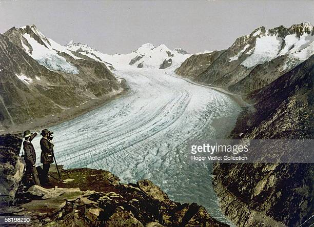 Swiss Alps Aletsch glacier At the bottom the Jungfrau
