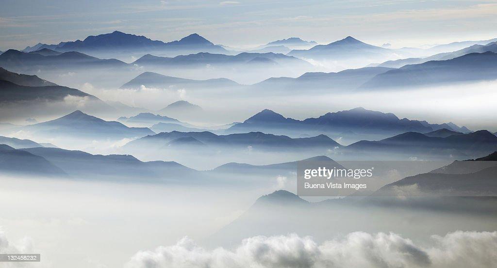 Swiss Alps in the morning fog