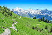 Swiss alps in the summer season. Trekking in the mountainous Alpine countryside, walking tour. Resort Engelberg, Switzerland