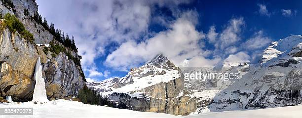 Swiss Alps Panorama with frozen waterfall