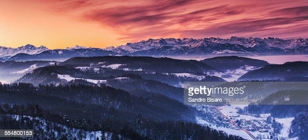 Swiss Alps Winter Sunrise with Snow