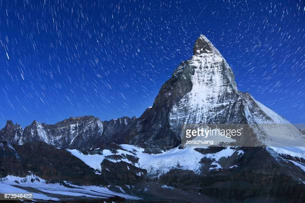 Swiss Alps's Matterhorn and Star Trail