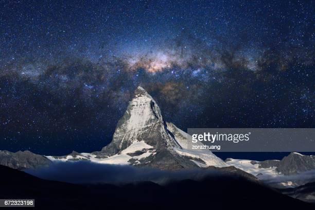 Swiss Alps's Matterhorn in Midnight Sky