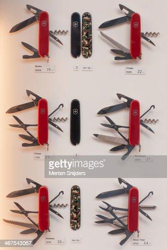 Swiss army knives in window