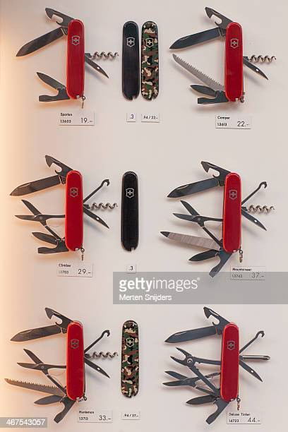 Swiss army knives in window