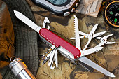 A Swiss Army style of mulitool knife and equipment for the great outdoors.
