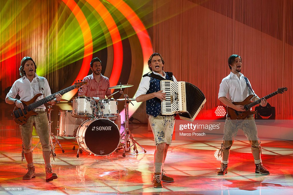 Swiss band Trenkwalder performs on stage during the 'Winterfest der fliegenden Stars' TV-Show on January 26, 2013 at the Freiheitshalle in in Hof, Germany.
