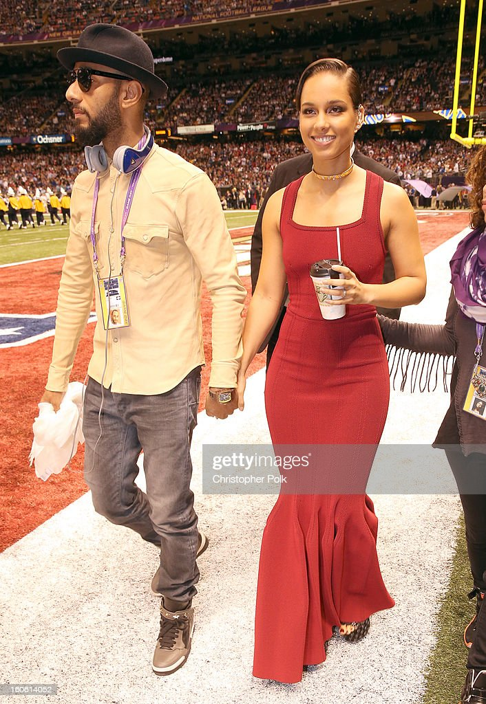 Swiss Beatz and Alicia Keys arrive to the Pepsi Super Bowl XLVII Pregame Show at Mercedes-Benz Superdome on February 3, 2013 in New Orleans, Louisiana.