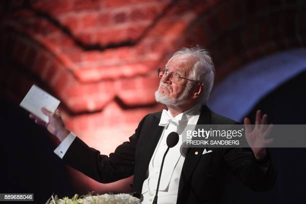 Swiss biophysicist and Nobel Prize in Chemistry 2017 laureate Jacques Dubochet gestures as he delivers his Banquet Speech at the 2017 Nobel Prize...