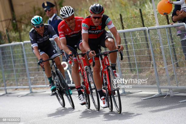Swiss BMC rider Silvan Dillier Belgium's Jasper Stuyven team Trek and Austria's Lukas Postlberger of team Bora ride during the 6th stage of the 100th...