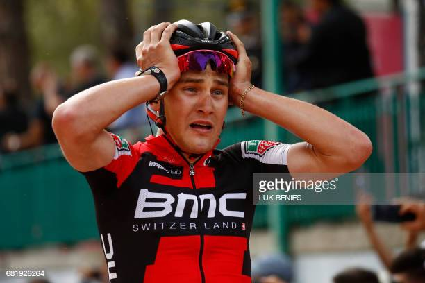Swiss BMC rider Silvan Dillier celebrates as he crosses the finish line to win the 6th stage of the 100th Giro d'Italia Tour of Italy cycling race...