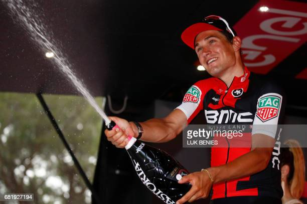 Swiss BMC rider Silvan Dillier celebrates on the podium after winning the 6th stage of the 100th Giro d'Italia Tour of Italy cycling race from Reggio...
