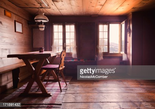 Swiss cabin dining room interior back lit