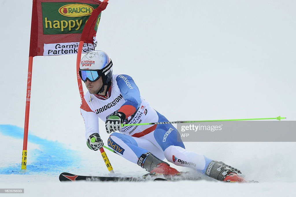 Swiss Carlo Janka competes during the FIS World Cup men's Giant Slalom first run competition in Garmisch-Partenkirchen, southern Germany, on February 24, 2013. French Alexis Pinturault won the competition, Austrian Marcel Hirscher placed second and US Ted Ligety placed third. AFP PHOTO / CHRISTOF STACHE