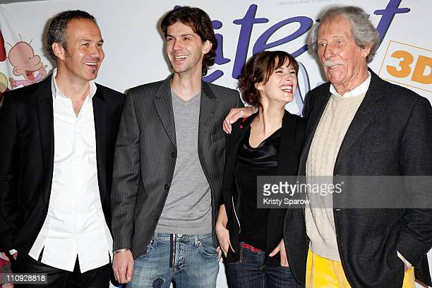Swiss cartoonist Philippe Chapuis better known as Zep and actors Donald Reignoux Melanie Bernier and Jean Rochefort attend the Titeuf 3D premiere at...