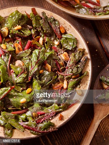 Swiss Chard Saut?ed with Garlic,Olive Oil and Pine Nuts