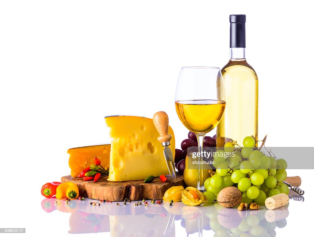 Swiss Cheese and White Wine : Stock Photo