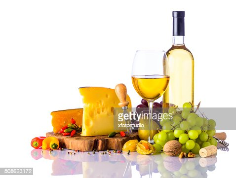 Swiss Cheese and White Wine : Stock Photo
