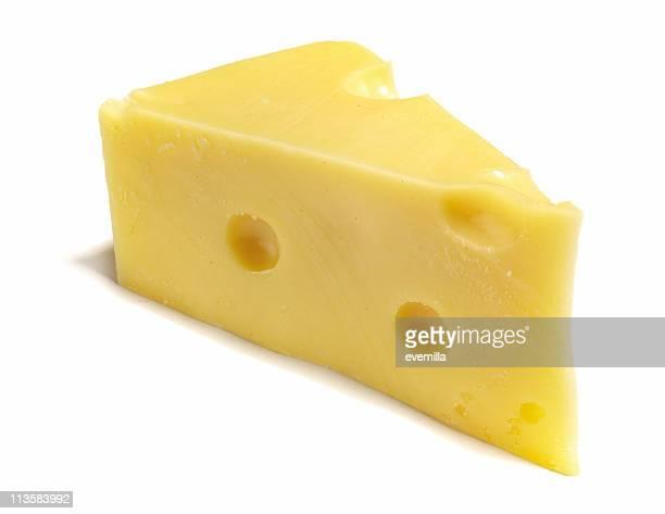 Schweizer Käse-Schnitt auf Weiß