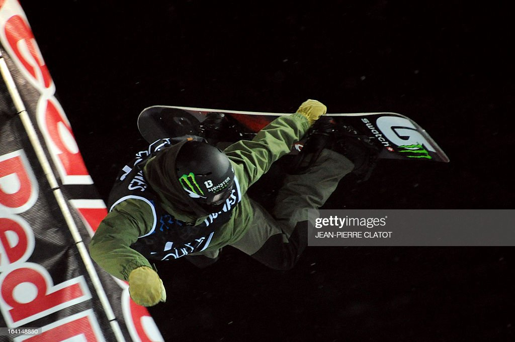 Swiss Christian Haller competes in the Men's Snowboard Superpipe qualification of the European Winter X-Games, on March 20, 2013 in the ski resort of Tignes, French Alps. AFP PHOTO JEAN-PIERRE CLATOT