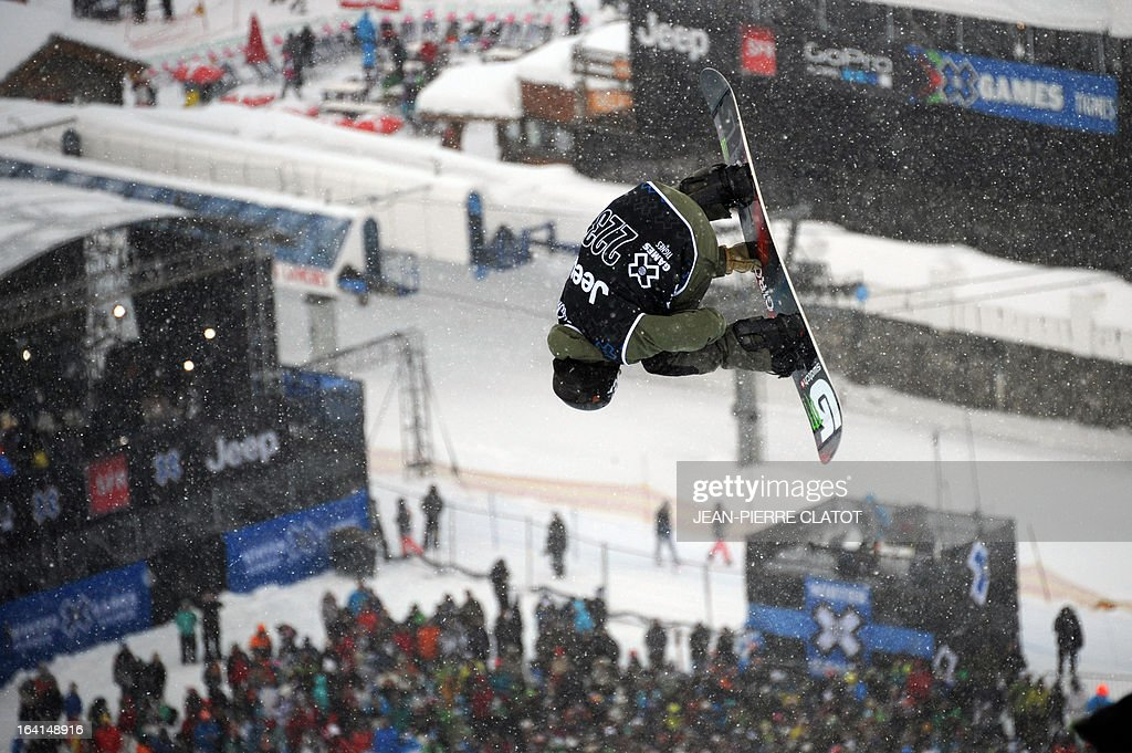 Swiss Christian Haller competes in the Men's Snowboard Superpipe qualification of the European Winter X-Games, on March 20, 2013 in the ski resort of Tignes, French Alps.