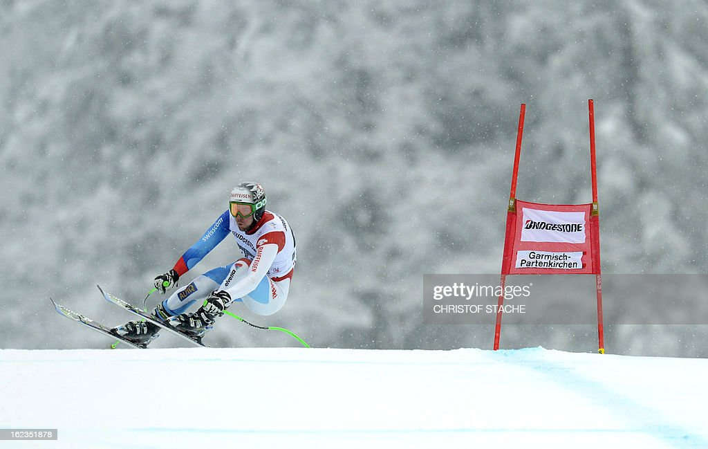 Swiss Christian Spescha skis during the training of the FIS World Cup men's downhill in Garmisch-Partenkirchen, southern Germany, on February 22, 2013.